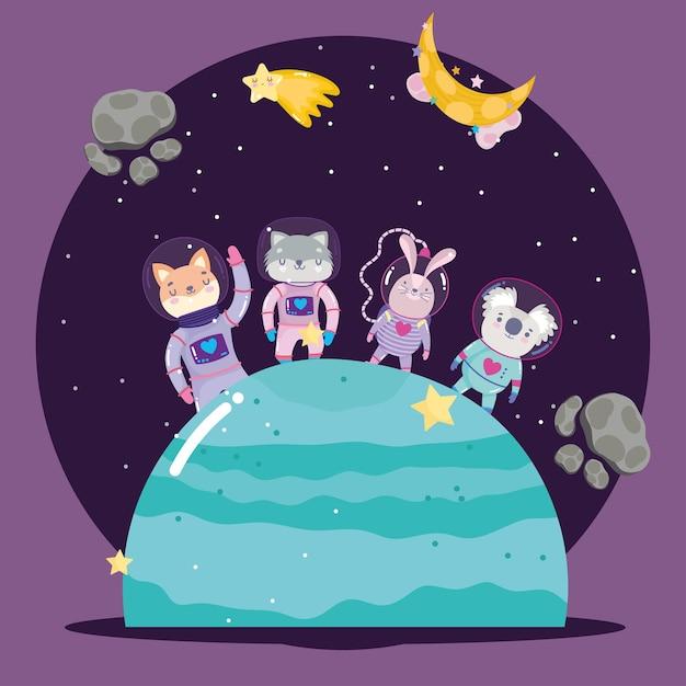 Kosmiczne Zwierzęta W Skafandrze Kosmicznym Na Planecie Przygodowej Eksploruj Ilustrację Kreskówki Premium Wektorów