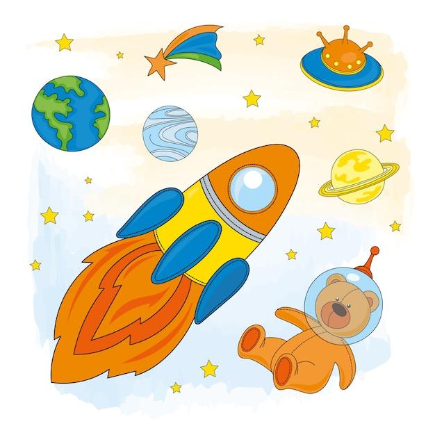 Kosmiczny astronauta Premium Wektorów