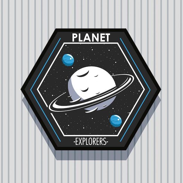 Kosmiczny Badacz Z Emblematem łatki Darmowych Wektorów