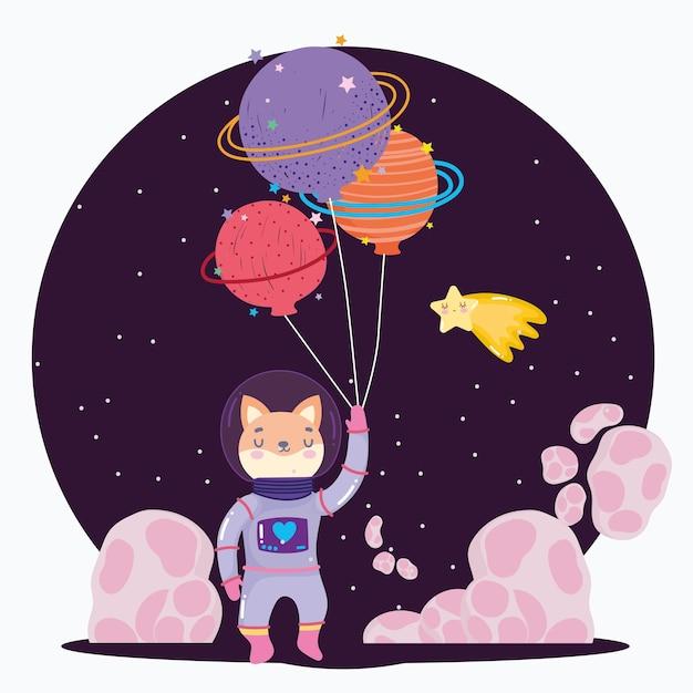 Kosmiczny Lis Z Kosmicznym Skafandrem I Balonami W Kształcie Planety Kreskówka Ilustracja Kreskówka Premium Wektorów