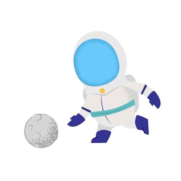 Kosmonauta grający z księżycem jak piłka. charakter, gra, sport. Darmowych Wektorów