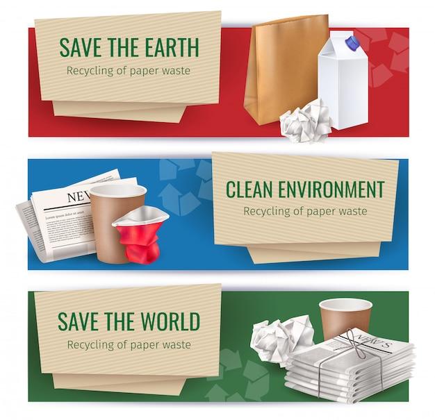 Kosz I Odpady Poziome Bannery Zestaw Realistycznych Symboli Czystego środowiska Na Białym Tle Darmowych Wektorów