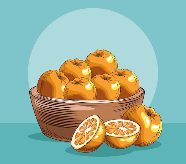 Kosz Ze świeżych Owoców Pomarańczy Premium Wektorów