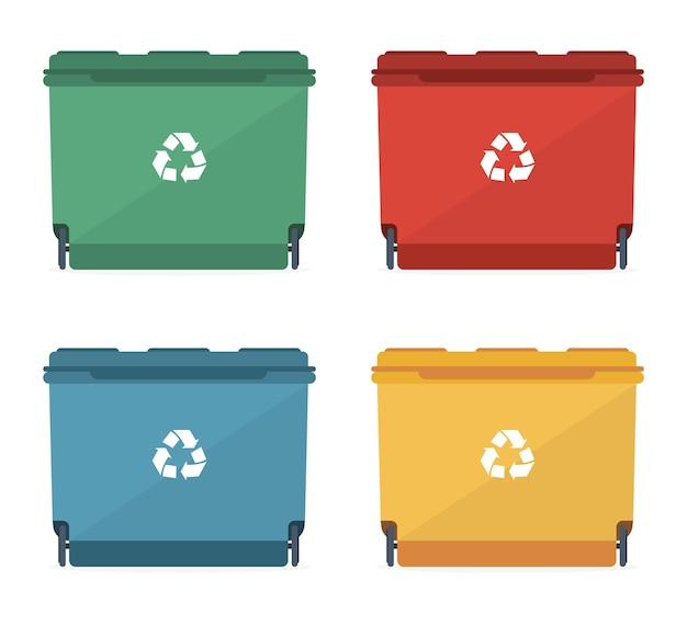 Kosze Na śmieci O Różnych Rozmiarach I Różnych Kolorach Ze Znakiem Recyklingu. Premium Wektorów