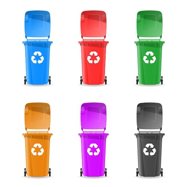 Kosze Na śmieci Są Kolorowe Premium Wektorów