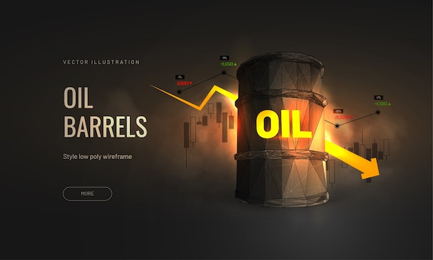 Koszt Ropy Na Giełdzie - Wykres Spowolnienia Wzrostu Przemysłu Naftowego Premium Wektorów
