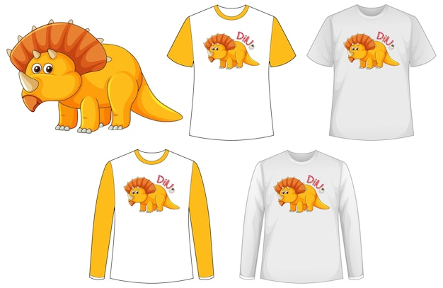 Koszula Z Postacią Z Kreskówki Dinozaura Darmowych Wektorów