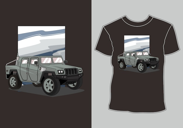 Koszulka Armii Samochodu Premium Wektorów