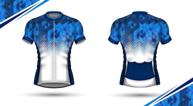 Koszulka kolarska, przód i tył Premium Wektorów