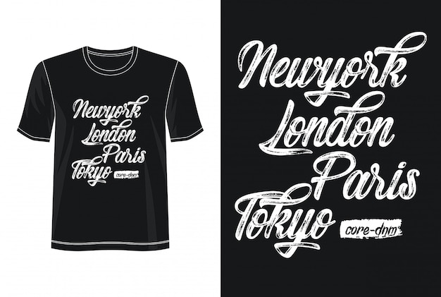 Koszulka New York Londyn Paryż Tokio Design Typografia Premium Wektorów