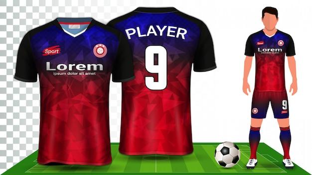 Koszulka Piłkarska, Koszulka Sportowa Lub Zestaw Piłkarski Jednolity Szablon Prezentacji. Premium Wektorów