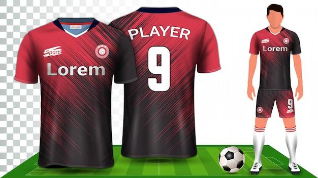 Koszulka Piłkarska, Koszulka Sportowa Lub Zestaw Piłkarski Mockup Szablon Prezentacji Jednolitej. Premium Wektorów