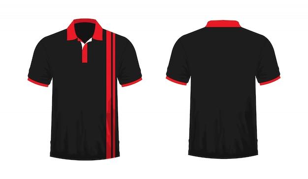 Koszulka Polo Czerwony I Czarny Szablon Dla Projektu Na Białym Tle. Premium Wektorów