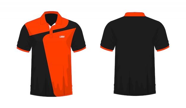 Koszulka Polo Pomarańczowy I Czarny Szablon Dla Projektu Na Białym Tle. Premium Wektorów