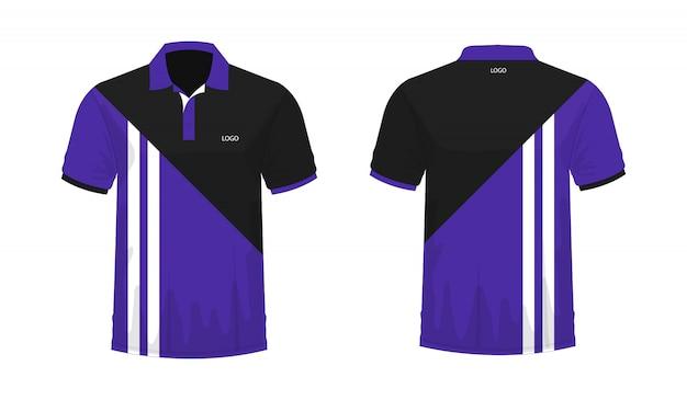 Koszulka Polo Purpurowy I Czarny Szablon Dla Projekta Na Białym Tle. Premium Wektorów