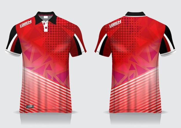 Koszulka Polo Sportowa, Makieta Do Badmintona Na Jednolity Szablon Premium Wektorów