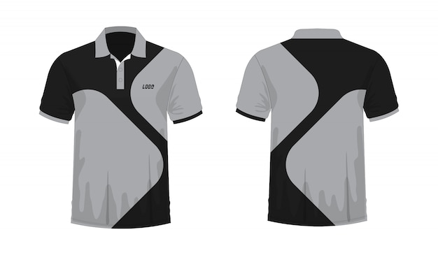 Koszulka Polo Szary I Czarny Szablon Dla Projektu Na Białym Tle. Premium Wektorów