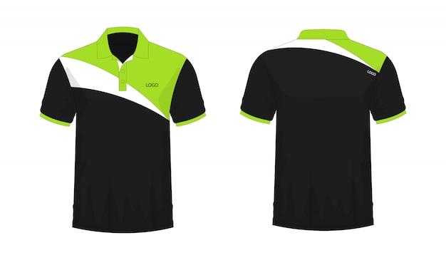 Koszulka Polo Zielony I Czarny Szablon Dla Projektu Na Białym Tle. Premium Wektorów