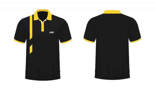 Koszulka Polo żółty I Czarny Szablon Dla Projektu Na Białym Tle. Premium Wektorów