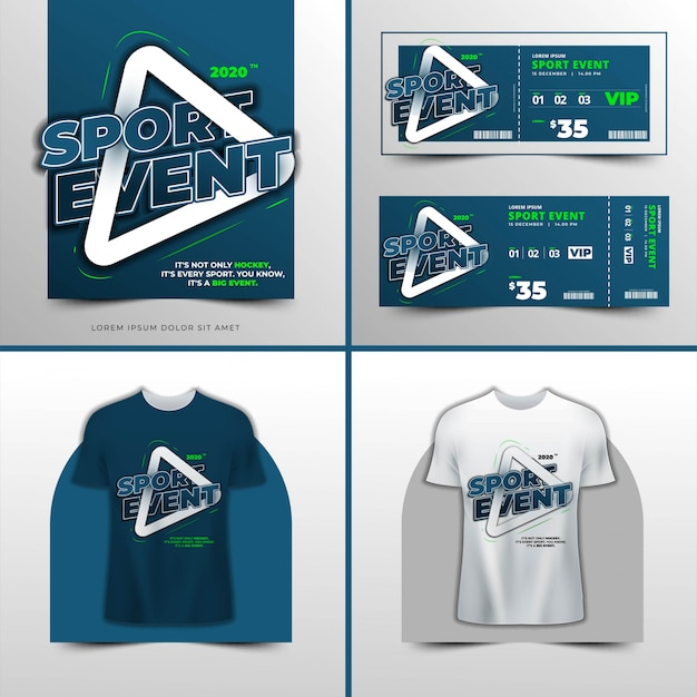 Koszulka typograficzna wydarzenie sportowe Premium Wektorów