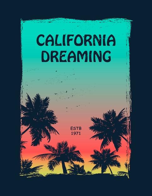 Koszulka z grafiką dla surferów california Premium Wektorów