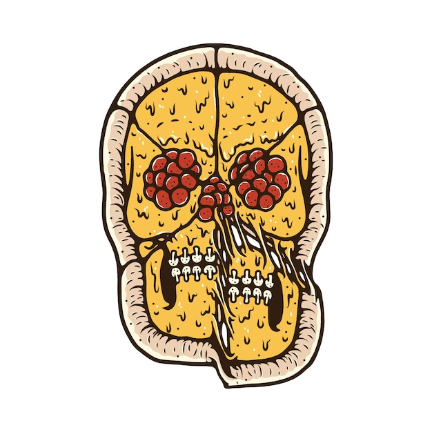 Koszulka Z Motywem Pizzy Skull Skull Premium Wektorów
