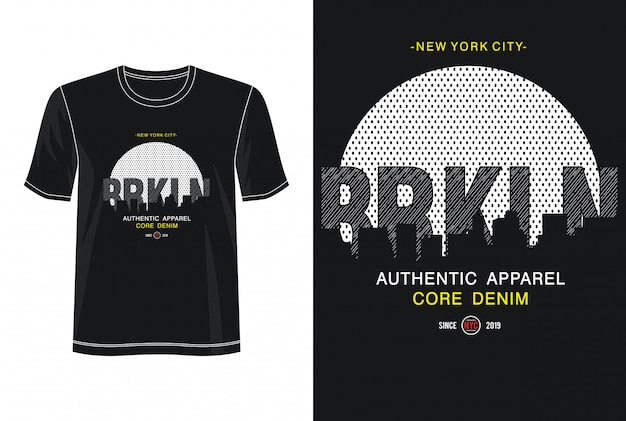Koszulka Z Nadrukiem New York City Typography Premium Wektorów