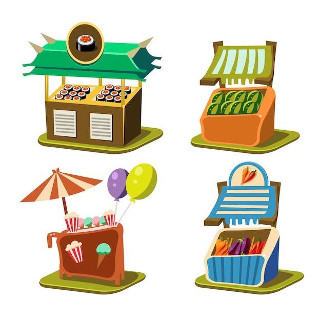 Koszyk Stall Food Premium Wektorów
