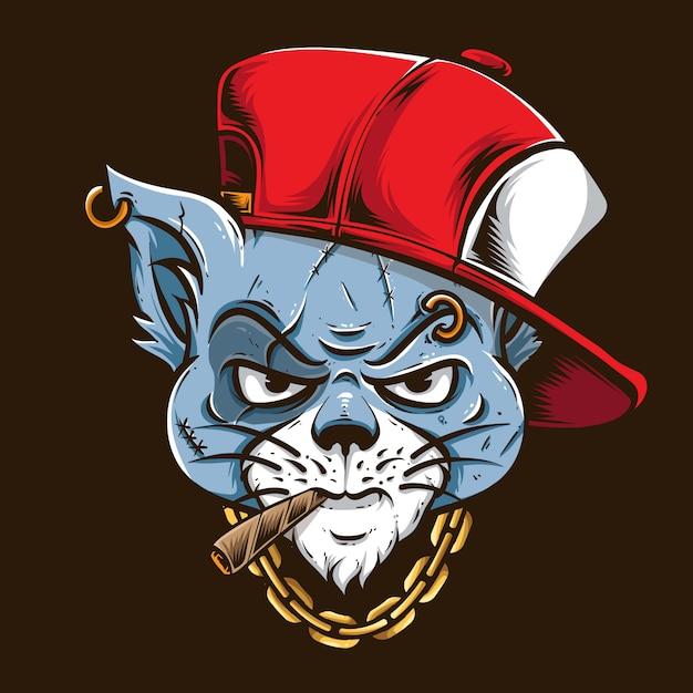 Kot Gangstera Z Czerwoną Czapką Premium Wektorów
