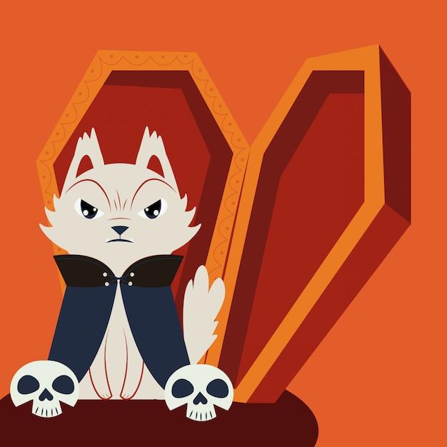 Kot halloween w przebraniu draculi Darmowych Wektorów