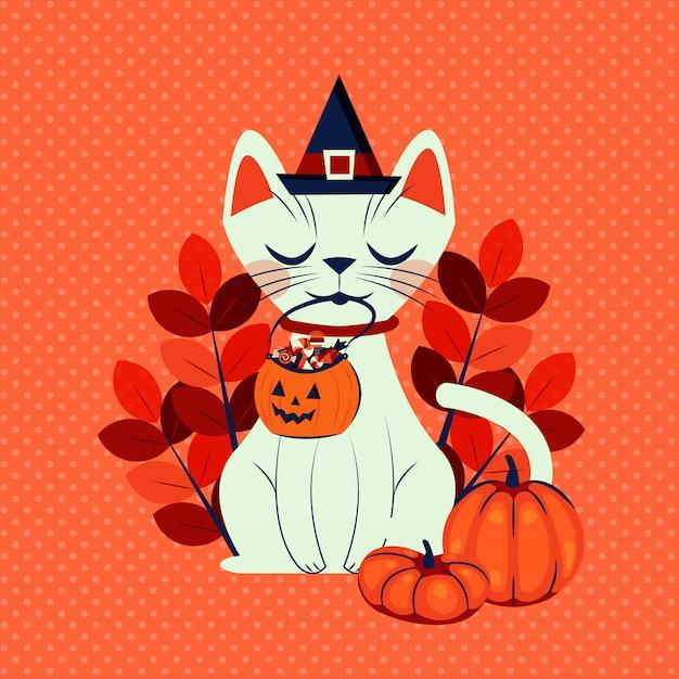 Kot halloween w przebraniu postaci czarownicy Darmowych Wektorów