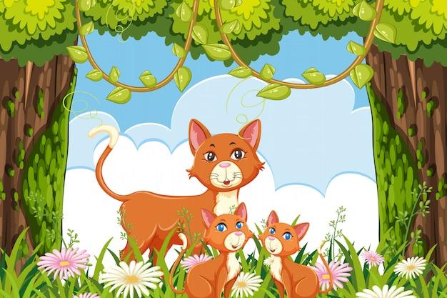 Kot i kotek w lesie sceny Premium Wektorów