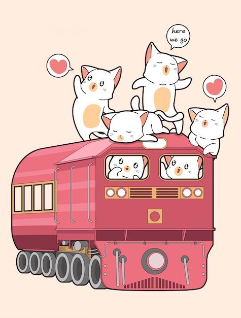 Kot Kawaii W Pociągu Premium Wektorów
