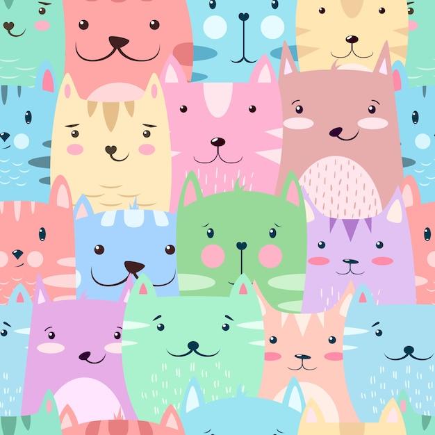 Kot, kotek - uroczy, zabawny wzór Premium Wektorów
