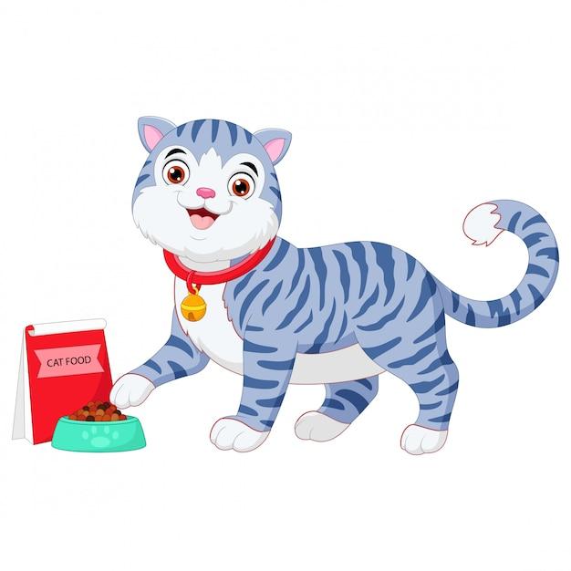 Kot kreskówka jedzenie z miską jedzenia Premium Wektorów