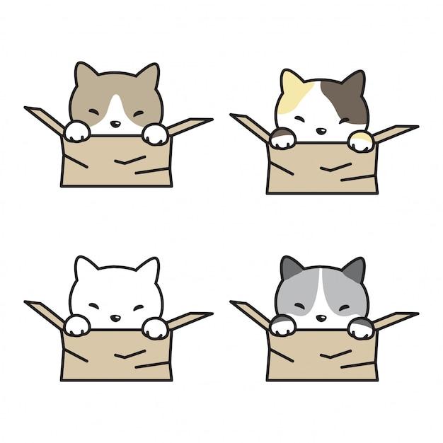 Kot kreskówka kotek Premium Wektorów