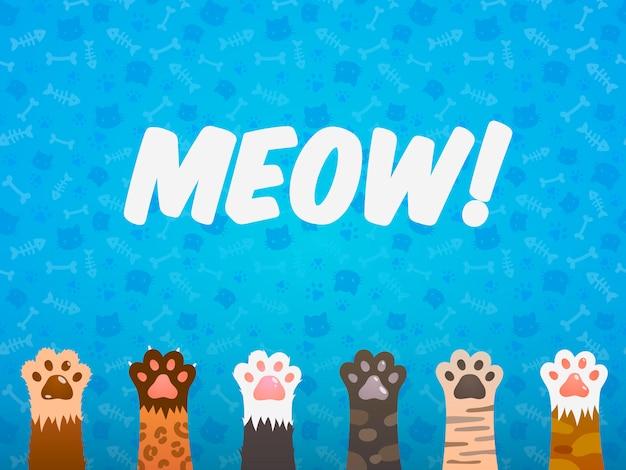 Kot łapa Płaskie Tło. Koty Kreskówka Zwierzę łapy, Drukuj Tekstury Kotka, Zwierzęta Schronienia Wektor Plakat Premium Wektorów
