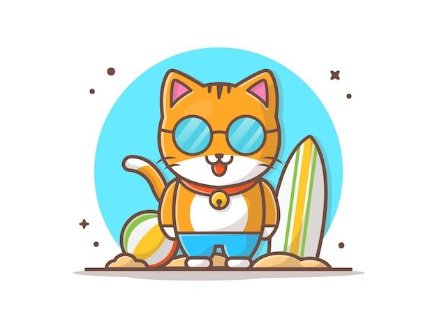 Kot Lato Grać W Plaży Wektor Ikona Ilustracja Premium Wektorów
