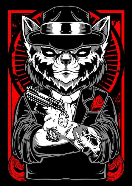 Kot Mafijny Premium Wektorów