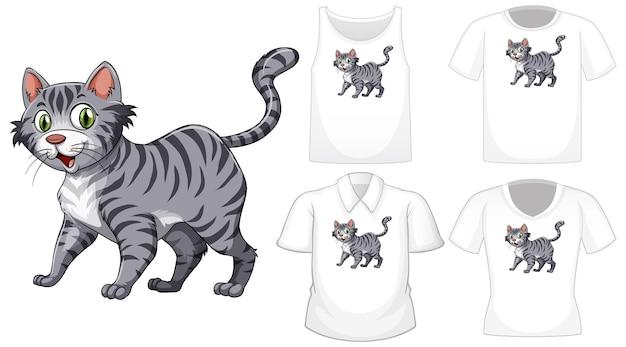 Kot Postać Z Kreskówki Z Zestawem Różnych Koszul Na Białym Tle Premium Wektorów