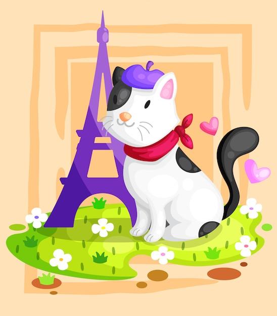 Kot przy wieży eifla ilustracją Premium Wektorów