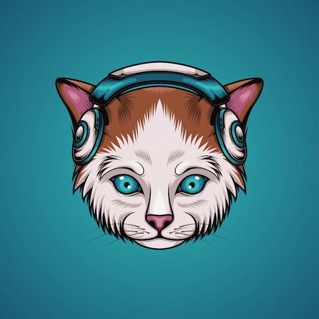 Kot Słuchaj Muzyki Premium Wektorów