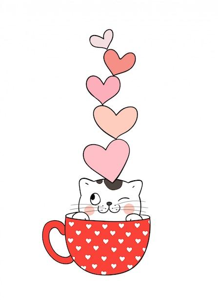 Kot w filiżance herbaty i serca na głowie Premium Wektorów