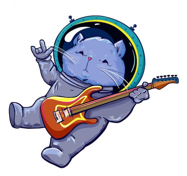 Kot W Przestrzeni Bawić Się Gitary Elektrycznej Ilustrację Premium Wektorów