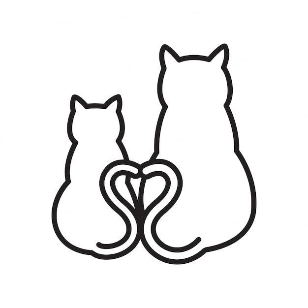 Kot wektor kotek serce kreskówka Premium Wektorów