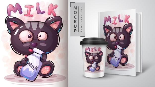 Kot z ilustracją mleka i merchandisingu Premium Wektorów