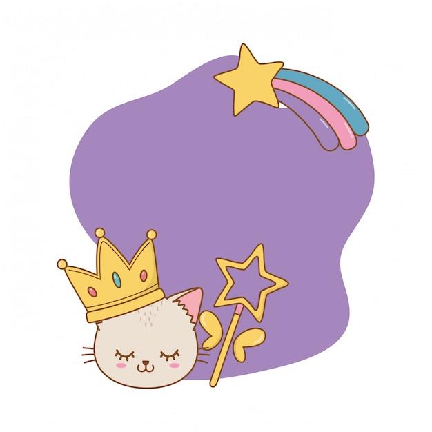 Kot Z Ramą Korony I Różdżki Premium Wektorów