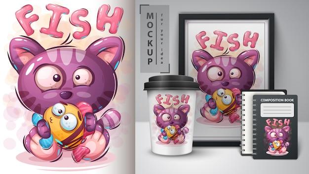 Kot z rybią ilustracją dla filiżanki i merchandisingu Premium Wektorów