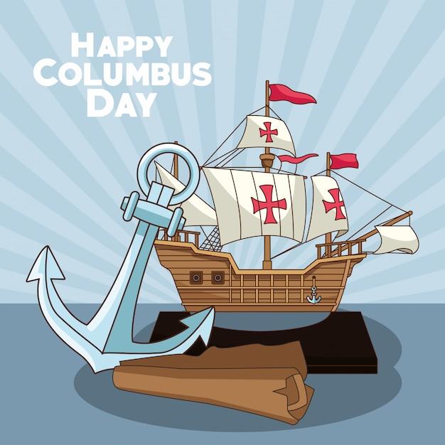 Kotwica I Mapa, Projekt Happy Columbus Day Premium Wektorów