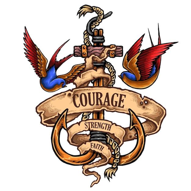 Kotwica Nautical Tattoo With Swallow Premium Wektorów
